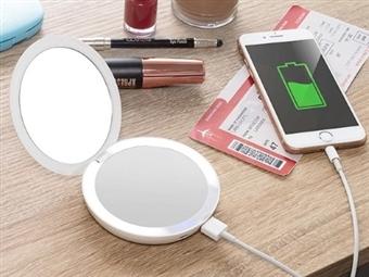 Espelho Duplo de Bolso com Aumento de 5x, Power Bank, Luz Led e USB desde 23€. VER VIDEO. PORTES INCLUÍDOS.