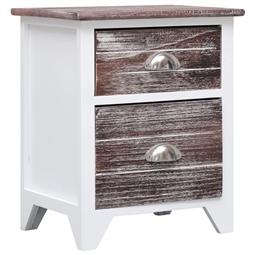Mesa-de-cabeceira 38x28x45 cm madeira paulownia castanho/branco por 106.26€ PORTES INCLUÍDOS