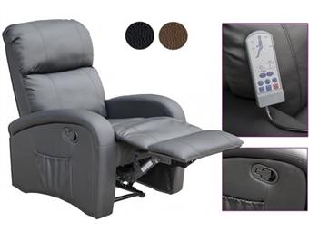 Poltrona de Massagens por Vibração por Zonas com Aquecimento Lombar, Inclinação Manual, Comando e 2 Cores à escolha por 317€. PORTES INCLUIDOS.