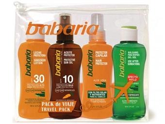 Bolsa de Viagem da BABARIA com Leite Solar, Spray Bronzeador, Spray Protector Capilar e Bálsamo Após Sol por 14€. PORTES INCLUÍDOS. ENVIO IMEDIATO!