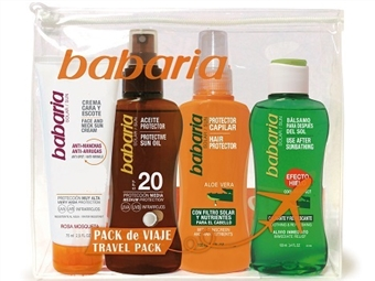 Bolsa de Viagem da BABARIA com Creme Solar Facial, Spray Bronzeador, Spray Protector Capilar e Bálsamo Após Sol por 15.50€. PORTES INCLUÍDOS. ENVIO IMEDIATO!