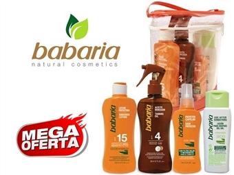 Bolsa da BABARIA com Spray Bronzeador, Spray Protector Capilar, Loção Após Sol e Leite Solar Protector por 17€. PORTES INCLUÍDOS. ENVIO IMEDIATO!