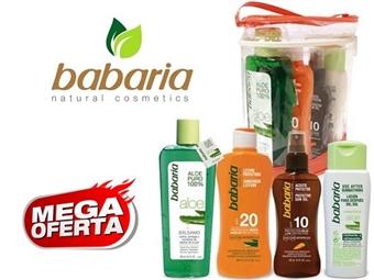 Bolsa da BABARIA com Bálsamo Reparador, Leite Solar Protector, Spray Bronzeador e Loção Hidratante Pós Solar por 17€. PORTES INCLUÍDOS. ENVIO IMEDIATO!