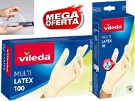 10 ou 100 Luvas Descartáveis Multi Latex VILEDA com 2 Medidas à escolha. PORTES INCLUIDOS.