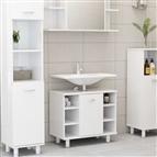 Armário casa de banho 60x32x53,5 cm contrapl. branco brilhante