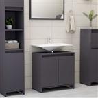 Armário casa de banho 60x33x58 cm contrapl. cinzento brilhante