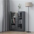Armário vitrine 82,5x30,5x115 cm contraplacado cinza brilhante