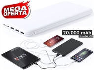 Power Bank de 20.000 mAh para carregar até 3 dispositivos simultaneamente por USB.