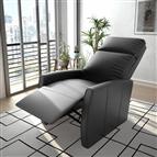 Poltrona reclinável/articulada elétrica couro artificial preto