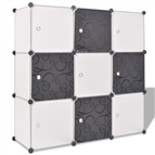 Cubos de arrumação com 9 compartimentos preto e branco
