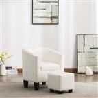 Poltrona com apoio de pés couro artificial branco