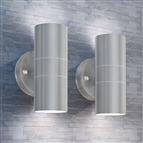 Candeeiros LED parede iluminação sup/inf exterior 2 pcs aço inox.