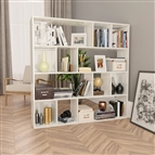 Divisória/estante 110x24x110 cm contraplacado branco brilhante