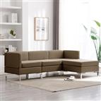 4 pcs conjunto de sofás tecido castanho
