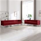 7 pcs conjunto de sofás tecido vermelho tinto