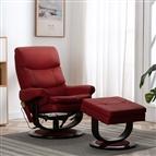 Poltrona reclin. massagens couro artif./madeira vermelho tinto