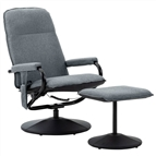 Poltrona massagens reclinável + apoio pés tecido cinza-claro