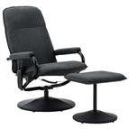 Poltrona massagens reclinável + apoio pés tecido cinza-escuro