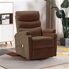 Poltrona massagens reclinável elevatória couro artif. castanho
