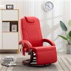 Cadeira de massagens reclinável TV couro artificial vermelho