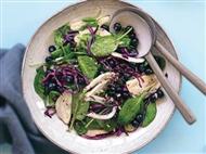 Coleção Receitas Facílimo: Salada de espinafres e couve-roxa com mirtilos. Faça já download do eBook