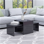 Conjunto mesas centro 100x48x40cm contrapla. cinza brilhante