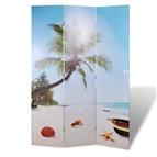 Biombo dobrável com estampa de praia 120x170 cm