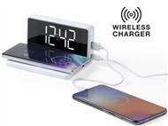 Relógio Despertador que permite carregar com e sem fios dois smartphones simultaneamente.