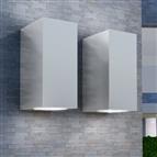Candeeiros parede LED superior/inferior p/ext., 2 pcs, quadrado