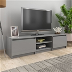 Móvel de TV 140x40x35,5 cm contraplacado cinzento brilhante
