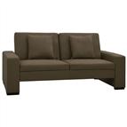 Sofá-cama couro artificial castanho