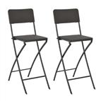 Cadeiras de bar dobráveis 2 pcs PEAD e aço aspeto vime castanho