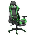 Cadeira de gaming giratória com apoio de pés PVC verde