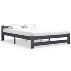 Estrutura de cama 160x200 cm pinho maciço cinzento-escuro