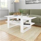 Mesa de centro 110x55x42 cm contraplacado branco brilhante