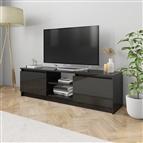 Móvel de TV 120x30x35,5 cm contraplacado preto brilhante