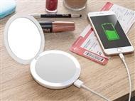 Espelho Duplo de Bolso com Aumento de 5x, Power Bank, Luz Led e USB. PORTES INCLUÍDOS.