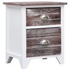 Mesa-de-cabeceira 38x28x45 cm madeira paulownia castanho/branco