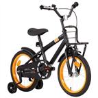 """Bicicleta criança c/ plataforma frontal roda 14"""" preto/laranja"""