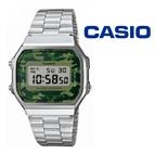 Relógio Casio® Vintage Prateado Camuflado Verde A168WEC-3EF