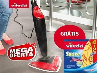 VILEDA Steam = Sistema de Limpeza a Vapor por 73€. OFERTA: 6 Panos Suave com Micofibras e Odor Stop. VER VIDEO. PORTES INCLUIDOS.