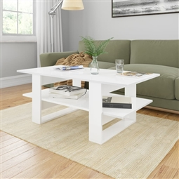 Mesa de centro 110x55x42 cm contraplacado branco brilhante por 125.40€ PORTES INCLUÍDOS